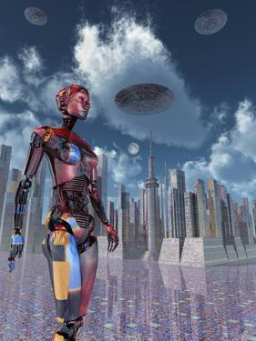 A Futuristic City Where Robots and Flying Saucers are Common Place by Stocktrek Images