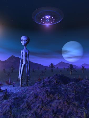 A Grey Alien Located on its Homeworld of Zeta Reticuli by Stocktrek Images