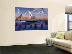 A Grey Alien Visits the Site of Three Pyramids on an Alien World by Stocktrek Images