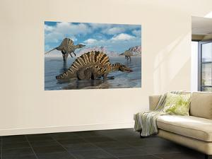 A Group of Spinosaurus by Stocktrek Images