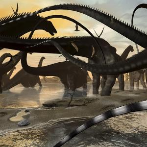A Herd of Argentinosaurus Marching Along the Side of a Beach by Stocktrek Images