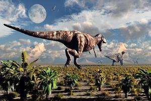 A Hungry Tyrannosaurus Rex Chasing a Small Group of Parasaurolophus by Stocktrek Images
