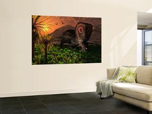 A Lone Torosaurus Dinosaur Feeding on Plants by Stocktrek Images