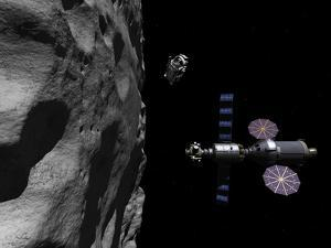 A Manned Maneuvering Vehicle Descends Toward the Surface of a Small Asteroid by Stocktrek Images