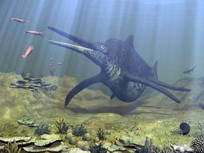 A Massive Shonisaurus Attempts to Make a Meal of a School of Squid-Like Belemnites by Stocktrek Images