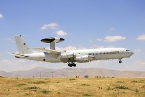 A Nato Awacs E-3A Sentry Landing in Konya, Turkey by Stocktrek Images