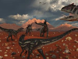 A Pack of Allosaurus Dinosaurs Track Down a Pair of Stegosaurus by Stocktrek Images