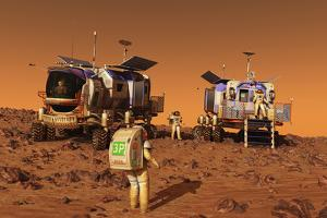 A Pair of Manned Mars Rovers Rendezvous on the Martian Surface by Stocktrek Images