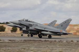 A Pair of Spanish Air Force Typhoon Jets Taking Off by Stocktrek Images