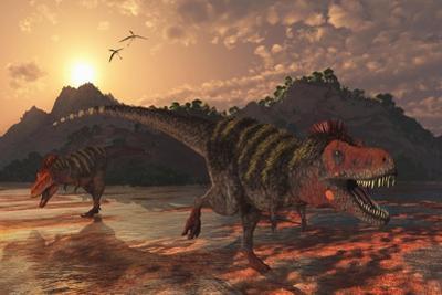 A Pair of Tarbosaurus Dinosaurs Scavaging for Food by Stocktrek Images