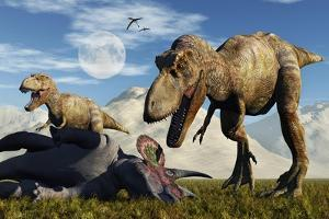 A Pair of Tyrannosaurus Rex Dinosaurs Ready to Make a Meal of a Dead Triceratops by Stocktrek Images