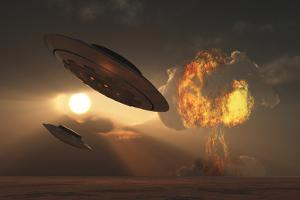 A Pair of Ufo's with a Nuclear Explosion in Background by Stocktrek Images