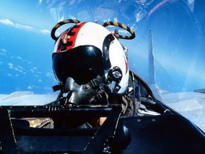 A Pilot Sitting in the Back of a Two-seater F-14 Tomcat by Stocktrek Images