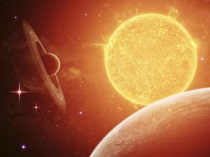 A Planet and its Moon Resisting the Relentless Heat of the Giant Orange Sun Pollux by Stocktrek Images