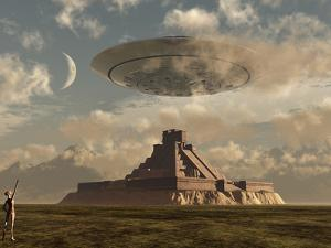 A Reptoid Greets an Incoming Flying Saucer Above a Pyramid. by Stocktrek Images