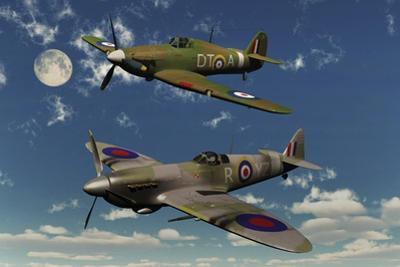A Royal Air Force Supermarine Spitfire and Hawker Hurricane by Stocktrek Images