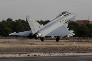 A Royal Air Force Typhoon Fighter Plane Taking Off by Stocktrek Images