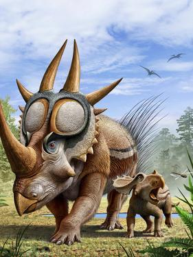 A Rubeosaurus and His Offspring by Stocktrek Images