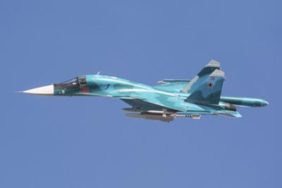 A Russian Air Force Su-34 in Flight over Russia by Stocktrek Images