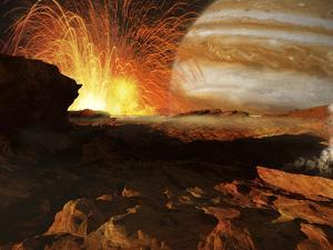 A Scene on Jupiter's Moon, Io, the Most Volcanic Body in the Solar System by Stocktrek Images