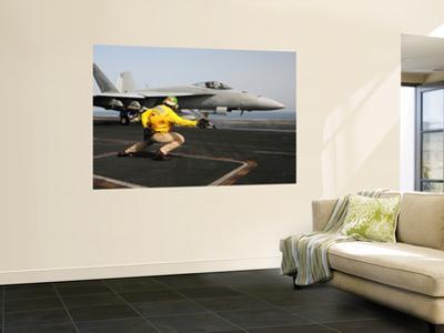 A Shooter Launches an F/A-18E Super Hornet from Uss Dwight D Eisenhower by Stocktrek Images