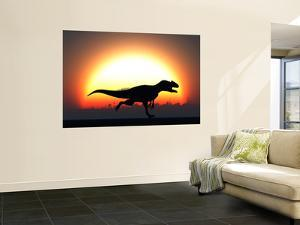 A Silhouetted Allosaurus Sprinting Against a Setting Set at the End of a Jurassic Day by Stocktrek Images