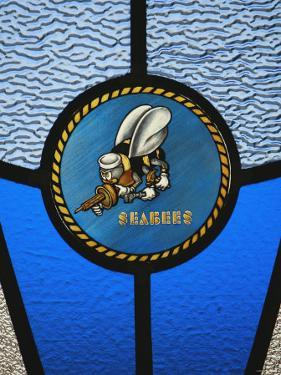 A Single Seabee Logo Built Into a Stained-Glass Window, Al Asad, Iraq by Stocktrek Images