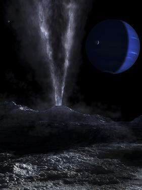 A Small Geyser on the Surface of Triton, with Neptune in the Background by Stocktrek Images