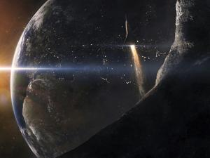 A Space Shuttle Flying Over An Asteroid That Is Passing Close To Earth by Stocktrek Images