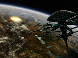 A Space Station Orbits a Terrestrial Planet That Has Been Hit by an Asteroid by Stocktrek Images