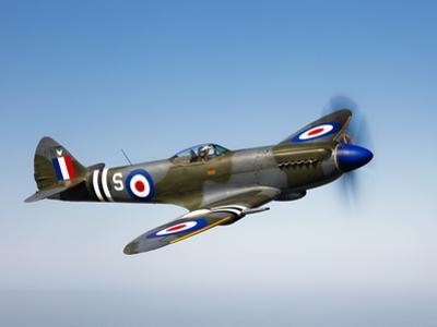 A Supermarine Spitfire MK-18 in Flight by Stocktrek Images