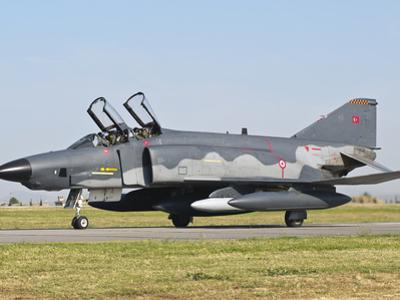A Turkish Air Force Rf-4E Taxiing at Izmir Air Base, Turkey by Stocktrek Images