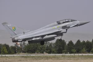 A Typhoon T3 of the Royal Air Force Taking Off from Konya Air Base by Stocktrek Images