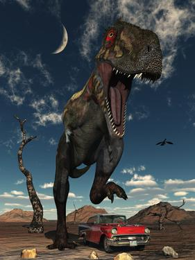 A Tyrannosaurus Rex About to Crush a Cadillac with His Feet by Stocktrek Images