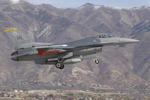A U.S. Air Force F-16C Fighting Falcon Landing at Hill Air Force Base, Utah by Stocktrek Images