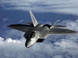 A U.S. Air Force F-22 Raptor Aircraft Flies Near Guam by Stocktrek Images