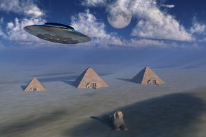 A Ufo Flying over the Giza Plateau in Egypt by Stocktrek Images