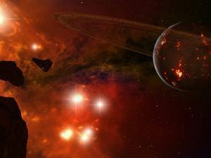 A Young Ringed Planet with Glowing Lava and Asteroids in the Foreground by Stocktrek Images