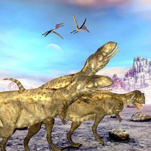 Abelisaurus Theropod Dinosaurs Hunt for their Next Prey by Stocktrek Images
