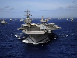Aircraft Carrier USS Ronald Reagan Leads a Mass Formation of Ships Through the Pacific Ocean by Stocktrek Images