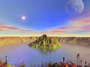 Alien Flora Flourishes in an Impact Crater on an Earth-Like Planet by Stocktrek Images