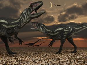 Allosaurus Dinosaurs Stalk their Next Meal by Stocktrek Images