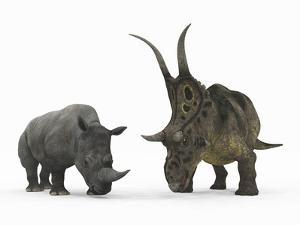 An Adult Diabloceratops Compared to a Modern Adult White Rhinoceros by Stocktrek Images