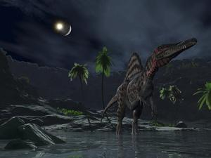 An Asteroid Impact on the Moon While a Spinosaurus Wanders in the Foreground by Stocktrek Images