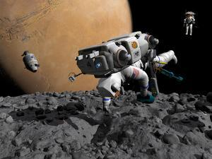 An Astronaut Makes First Human Contact with Mars' Moon Phobos by Stocktrek Images