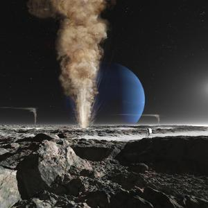 An Astronaut Observes the Ruption of One of Triton's Giant Cryogeysers by Stocktrek Images