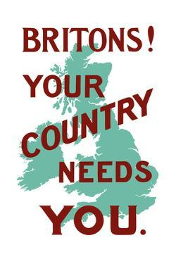 An English World War One Poster with the Outline of Great Britain by Stocktrek Images