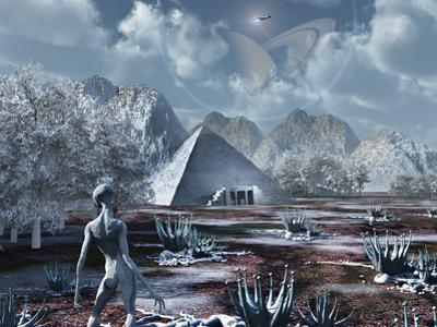 An Extraterrestrial Surveys an Ancient Structure on a Distant Alien World by Stocktrek Images