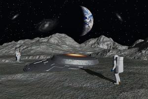 Apollo Astronauts Discover a Ufo on the Surface of the Moon by Stocktrek Images