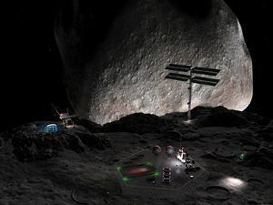 Artist's Concept of a Mining Settlement on the Double Asteroid 90 Antiope by Stocktrek Images